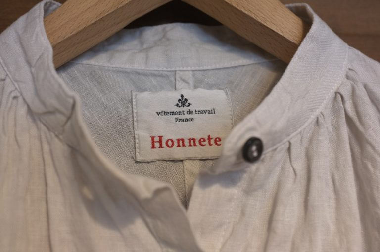 Honnete   S/SLV No Collar Op & Half Sleeve Gather Blouse