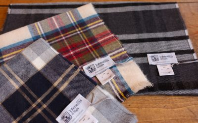 Johnston's of Elgin   TARTAN CHECK SCARF & OMBRE MOCK SCARF