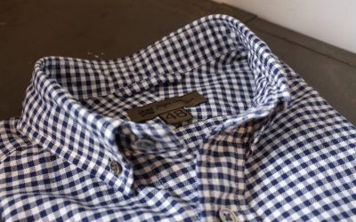 Nigel Cabourn   BRITISH OFFICER'S SHIRT-PINPOINT OXFORD GINGHAM SHORT SLEEVE 再..
