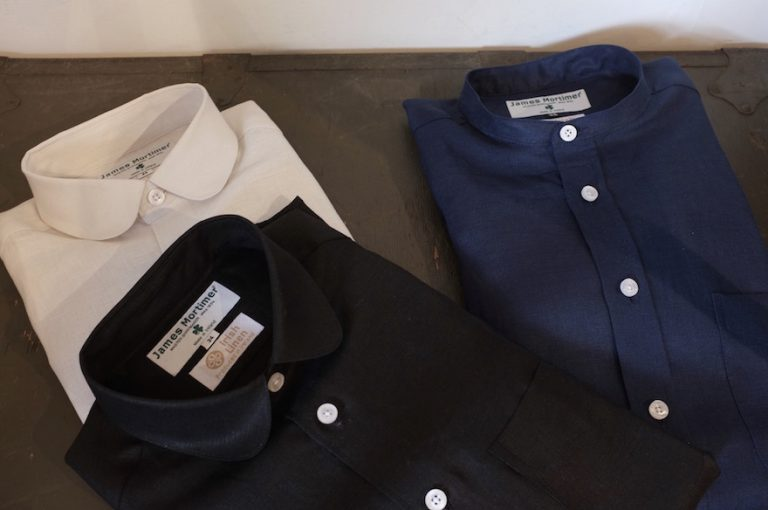 James Mortimer   Long Sleeve Band Collar Shirts & Long Sleeve Round Collar Shirts