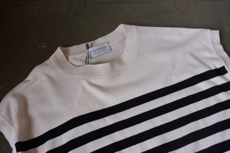 JOHN SMEDLEY   STRIPED SWEATER BOAT NECK NO SLEEVES